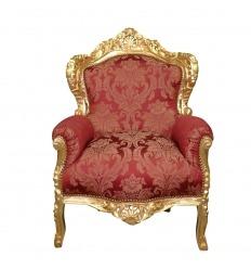Sillón barroco rojo y madera dorada.