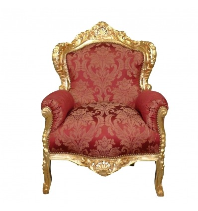 Red baroque armchair and gilded wood - Baroque furniture -