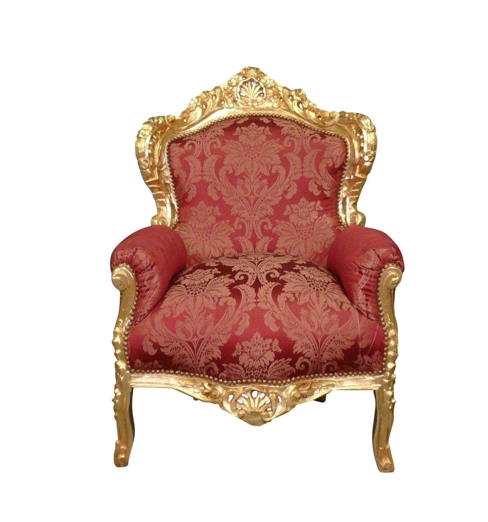 Poltrona barocco rosso e oro in legno - Mobili in stile barocco