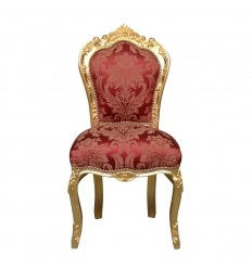 Sedia barocco rosso e oro legno