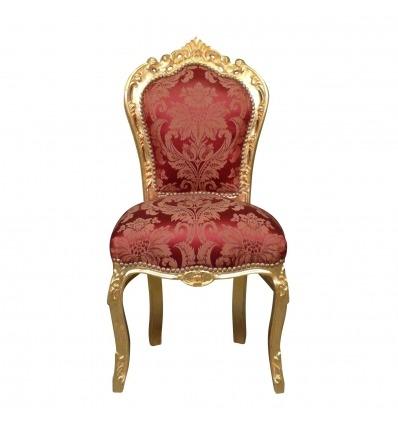 Barock stol röda och gyllene trä