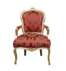 Fauteuil rouge en bois doré de style Louis XV