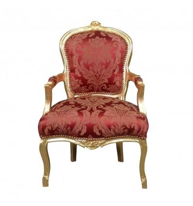 Fauteuil rouge en bois doré de style Louis XV - Fauteuils Louis xv -