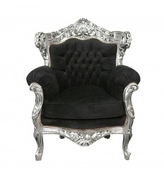 Baroque armchair in black velvet and silver wood