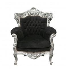 Fauteuil baroque en velours noir et bois argenté