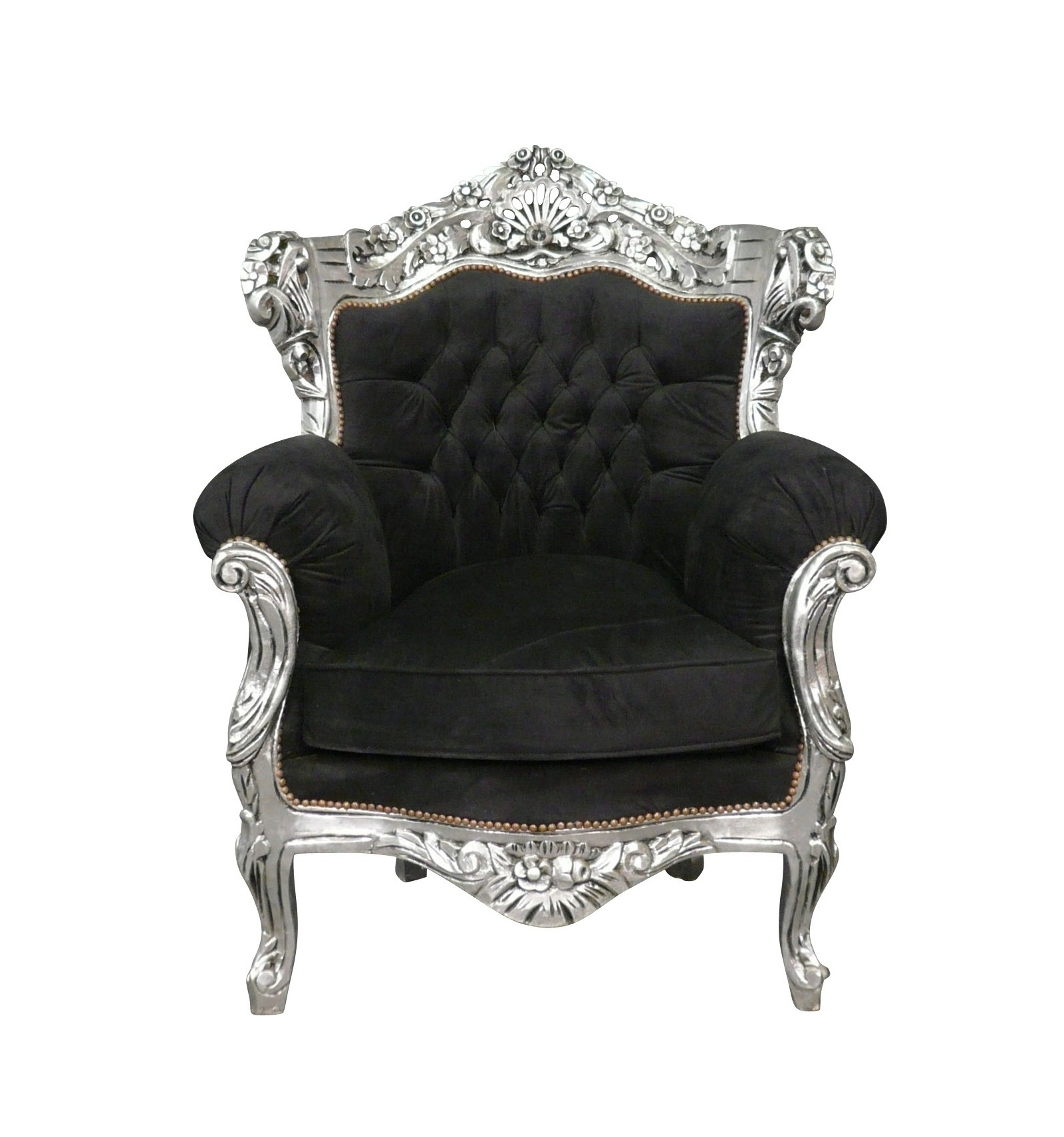 Armchair Baroque Black Velvet And Wood Silver Furniture