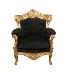 Barocker Sessel aus vergoldetem Holz und schwarzem Samt