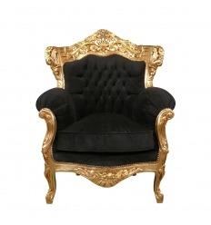 Barokke fauteuil in verguld hout en zwart fluweel