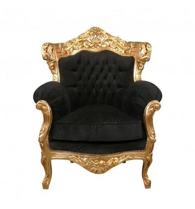 Barok lænestol i forgyldt træ og sorte fløjl-barok møbler -