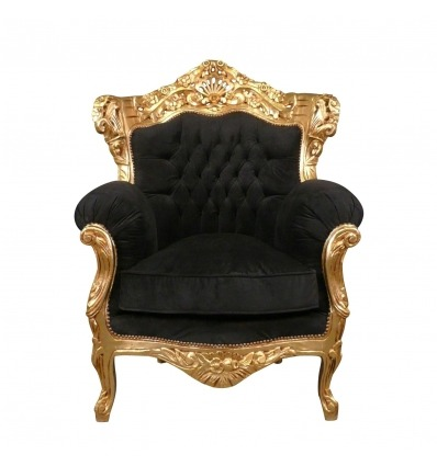 Baroque armchair in gilded wood and black velvet-baroque furniture -