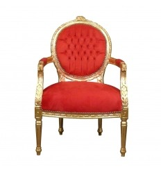 Louis XVI armchair red and gold
