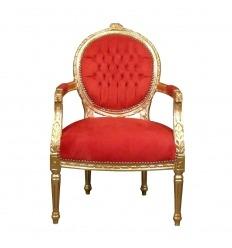 Sillón Luis XVI rojo y dorado.