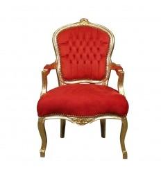 Sillón Luis XV barroco rojo y dorado.