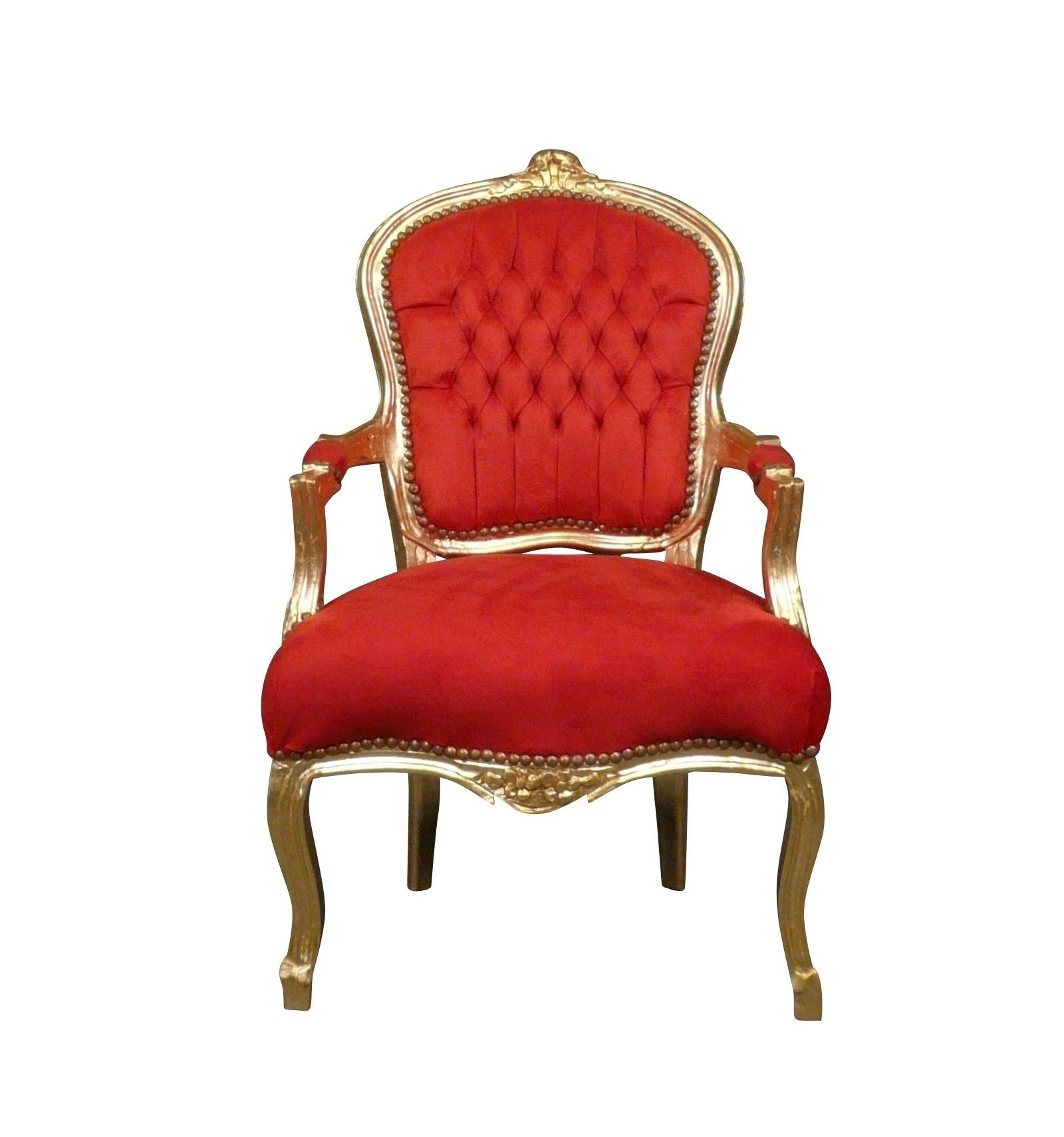Fauteuil louis xv baroque rouge et or fauteuils louis xv - Silla luis xiv ...