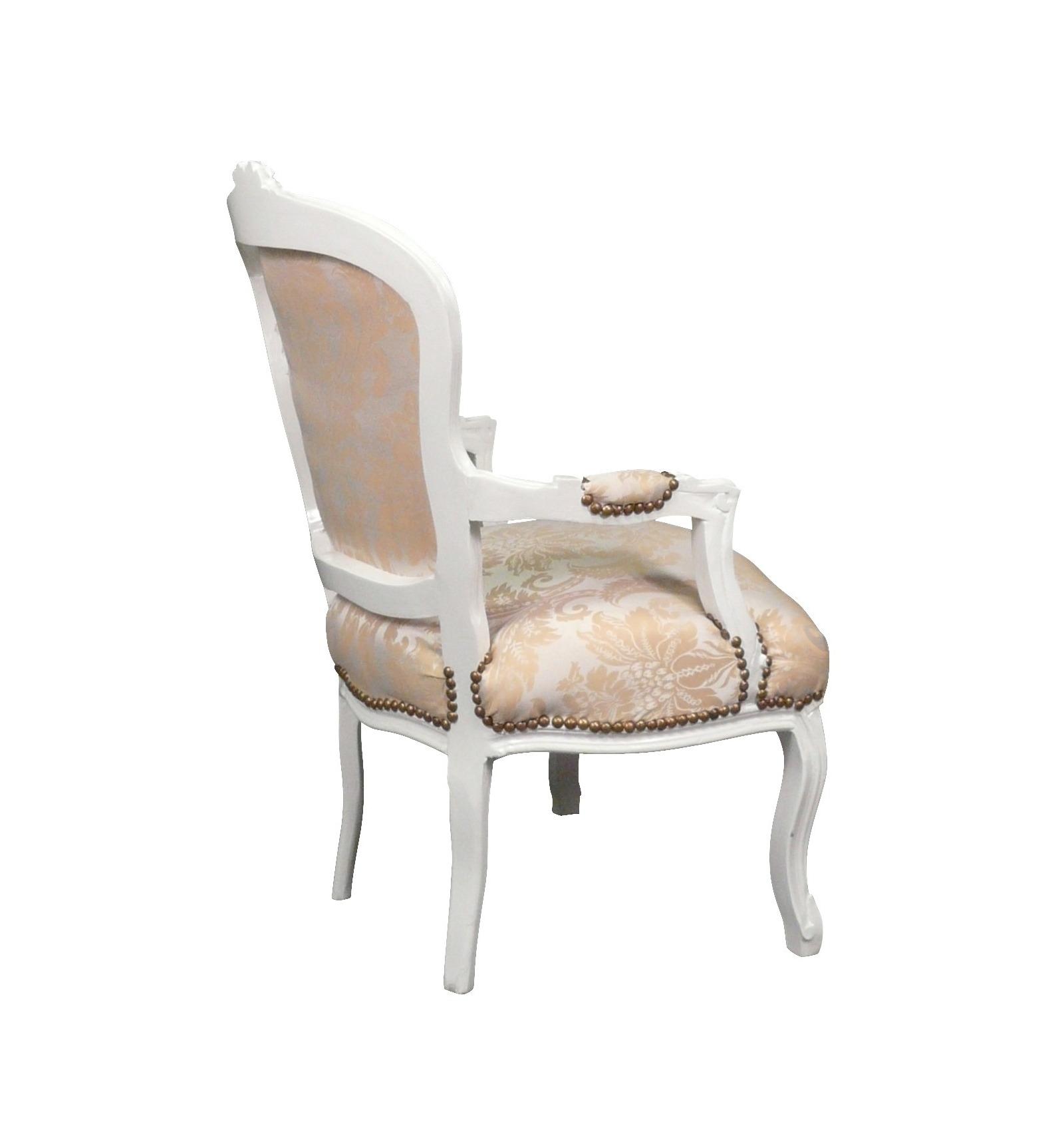 Fauteuil Louis XV bois blanc et tissu satiné Mobilier de salon