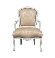 Fauteuil Louis XV bois blanc et tissu satiné