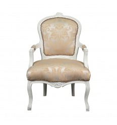 Louis XV armchair white wood and satin fabric