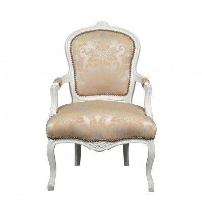 Sedia Louis XV legno tessuto e raso bianco