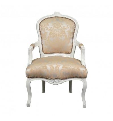 Sillón Luis XV en madera blanca y tela satinada.
