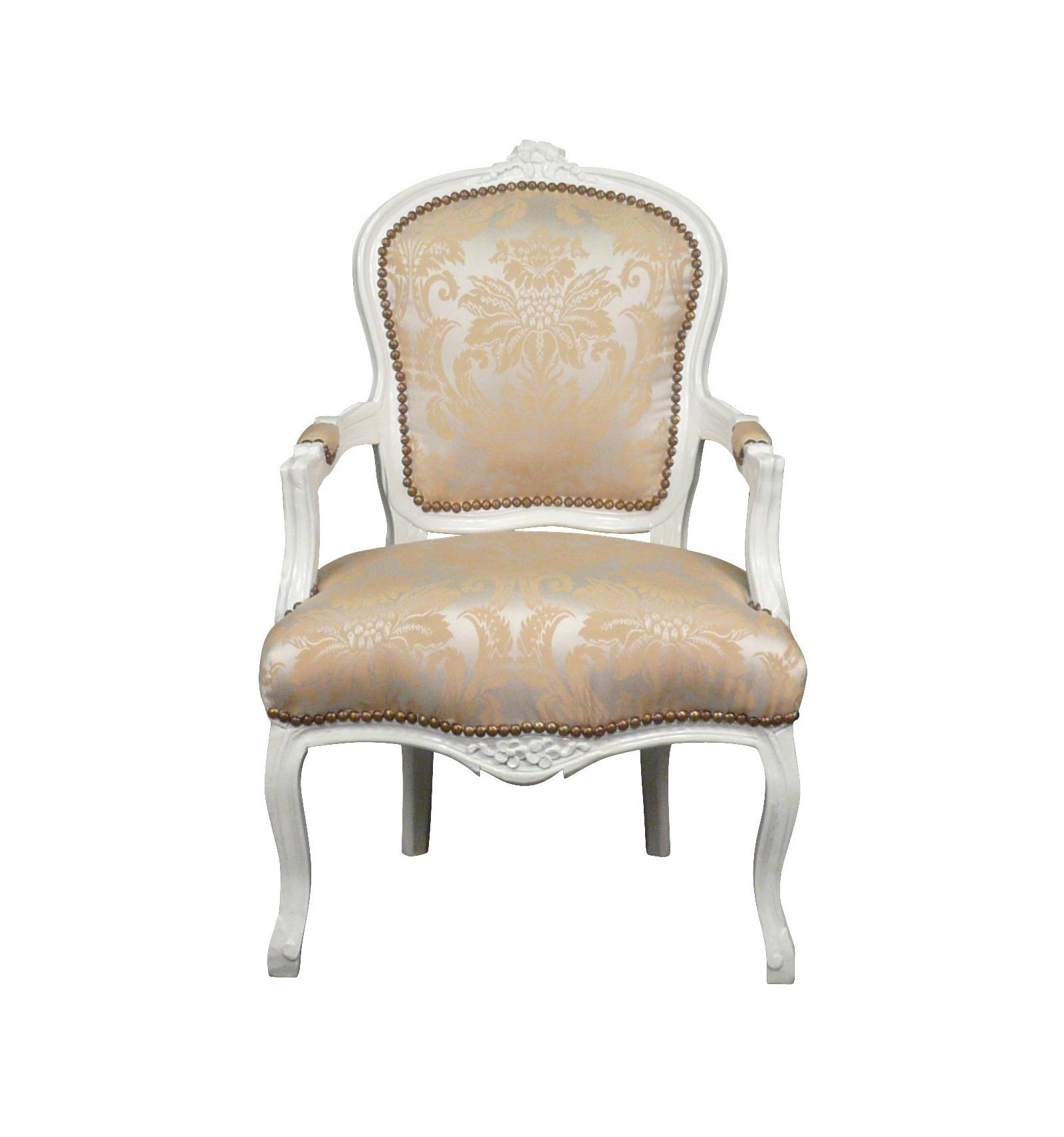 Poltrona luigi XV in legno bianco e raso tessuto - Mobili soggiorno ...