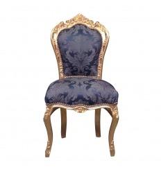 Chaise baroque bleu roi