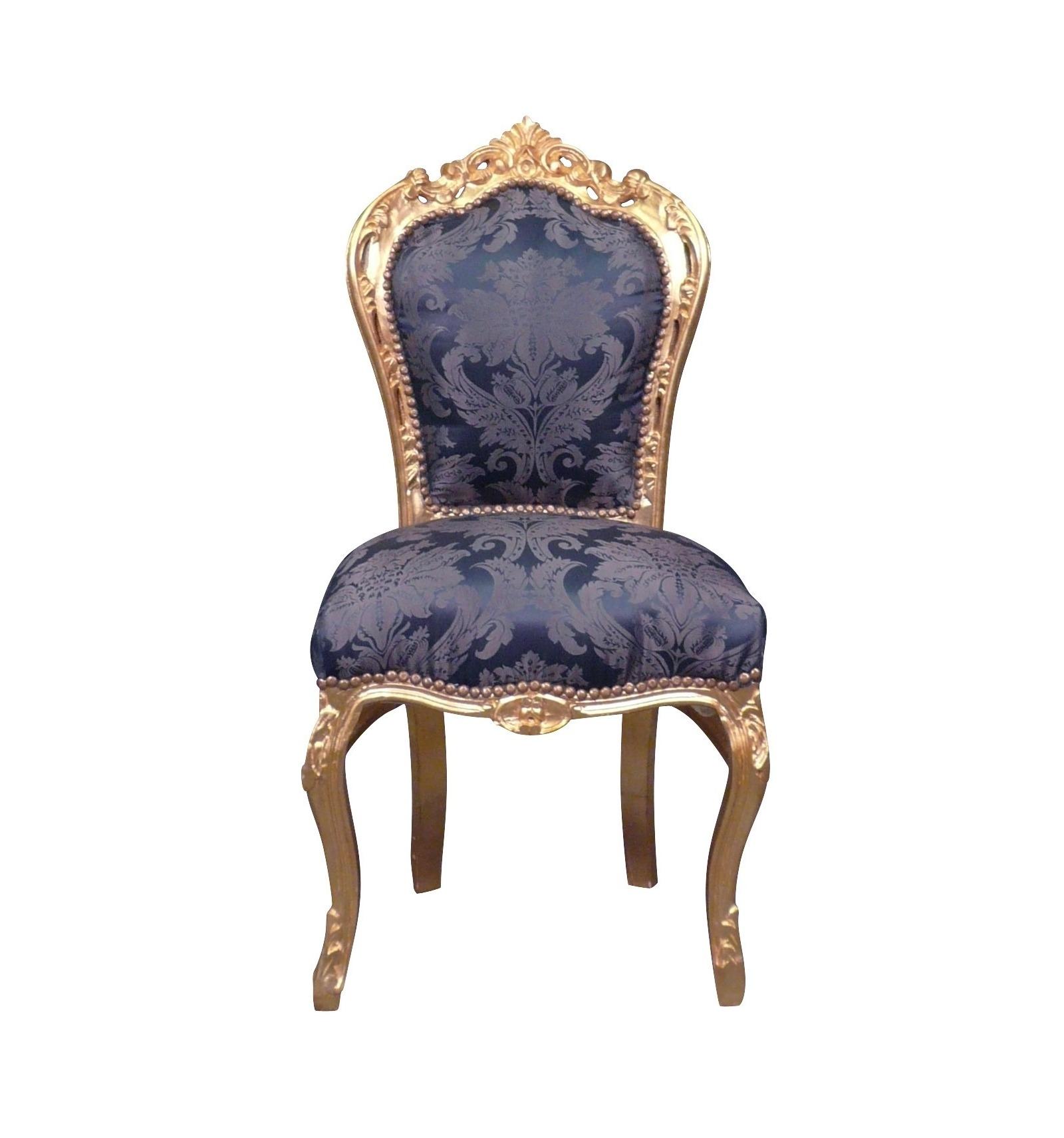 Assez Chaise baroque bleu roi en bois sculpté US37