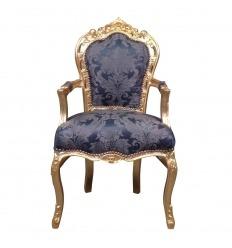 Fauteuil baroque bleu roi