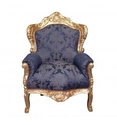 Královské modré barokní křeslo