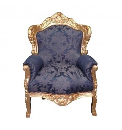 Fauteuil baroque bleu royal -