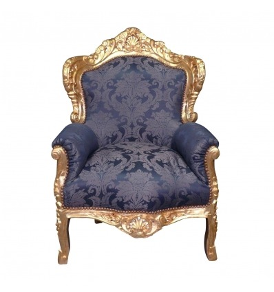 Royal blue baroque armchair