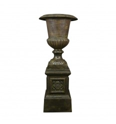 Medicis cast iron vase with pedestal - H: 120 CM