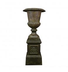 Vase Medicis en fonte avec son socle - H: 120 CM