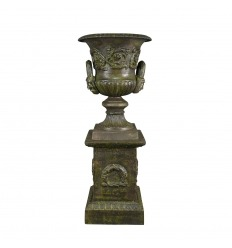 Medici cast iron vase with pedestal style - H: 69 cm
