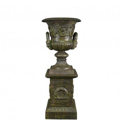 Vaso Medici in ghisa con base in stile - H: 69 cm - Vasi medicei in ghisa -