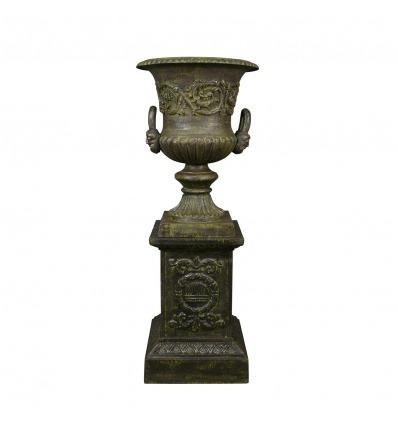 Vase Medicis en fonte sur socle - H: 112 cm - Vases Médicis