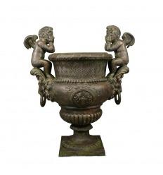Vase cast iron Medicis cherubs H: 99 cm