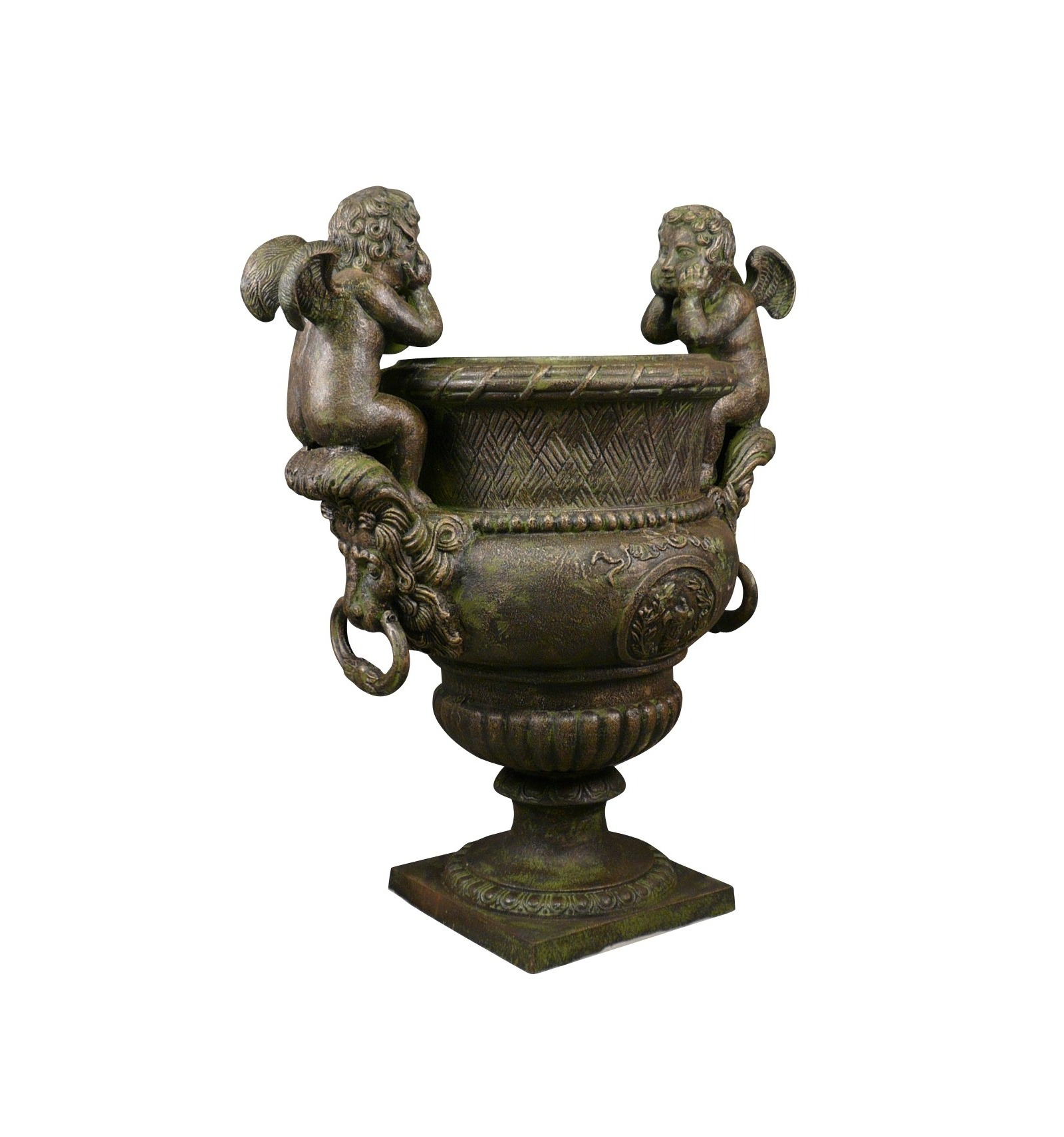 Vase cast iron medici cherubs h 99 cm for Fauteuil de jardin metal