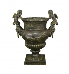 Medicis cast iron vase with cherubs - H: 52 cm