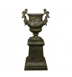 Angelots cast iron vase with its base - H: 95 cm