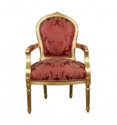 Fauteuil Louis XVI rouge style baroque
