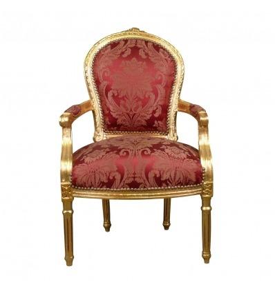 Sillón Luis XVI de estilo barroco rojo. - Sillón Luis XVI