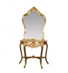 Consola de madera dorada de estilo barroco.