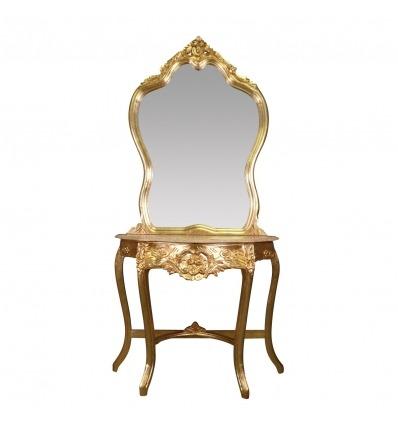 Consola barroca en madera dorada con su espejo. -