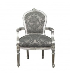 Louis XVI armchair gray baroque fabric