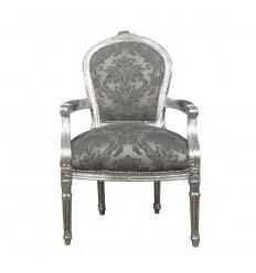 Louis XVI Sessel Grauer Barockstoff