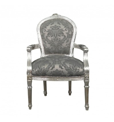 Křeslo Louis XVI šedá tkanina barokní - Křeslo Ludvík XVI barokní