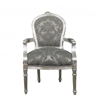 Sillón Luis XVI de tela gris barroca - Sillón barroco Luis XVI