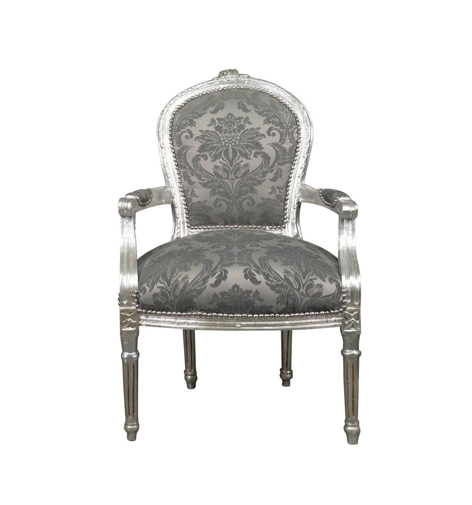 fauteuil louis xvi tissu gris baroque. Black Bedroom Furniture Sets. Home Design Ideas