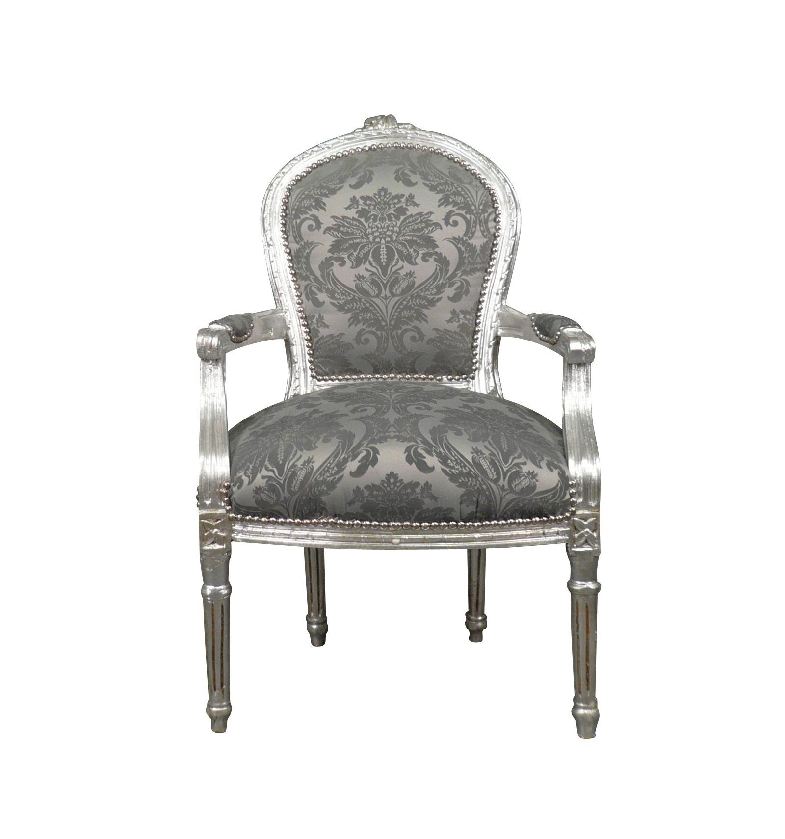 Sedia Luigi XVI in tessuto grigio barocco