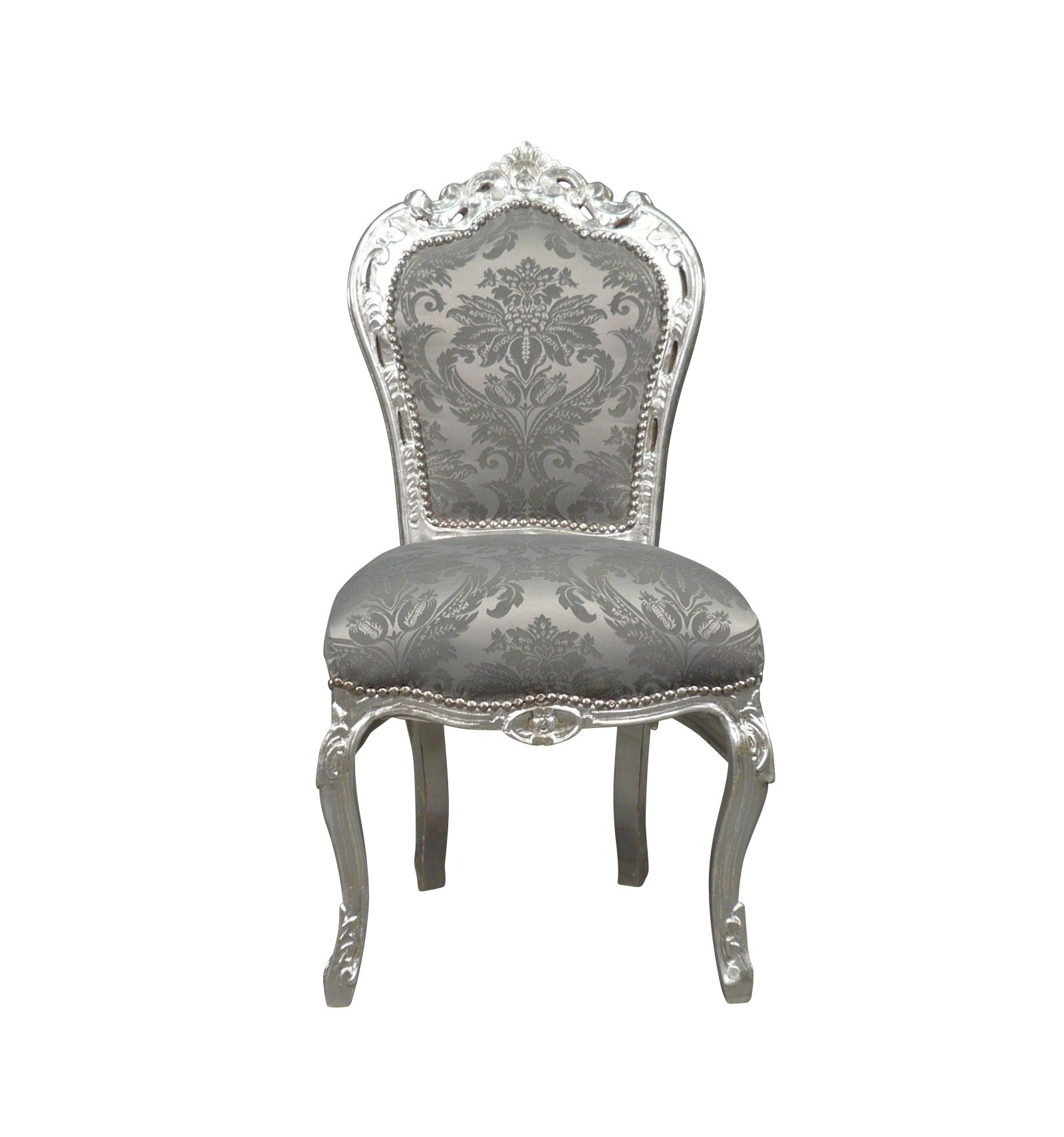 chaise baroque en tissu gris chaises baroque. Black Bedroom Furniture Sets. Home Design Ideas
